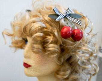 Vintage cherry hair clips