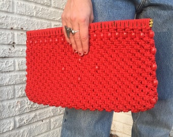 70s Red woven clutch embellished with red wooden beads