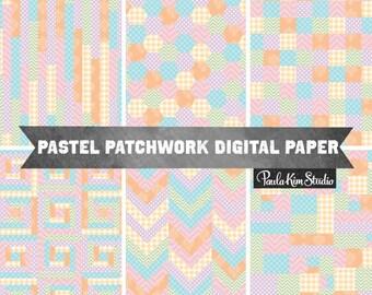 pastel patchwork digital paper, easter digital paper, patchwork digital paper, patchwork backgrounds