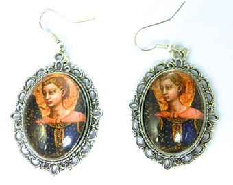St Michael Archangel Glass Tile Icon Cabochon Religious  Earrings Christian Angel  Michael Earrings