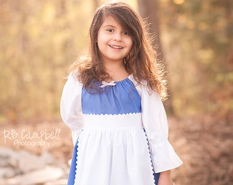 Provincial Belle Princess Dress- Belle Town Dress - Belle Blue Dress- Beauty and The Beast - Provincial Belle - Cotton Princess Dress
