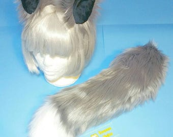 Grey Kistune Fox Wolf Ears and Tail set
