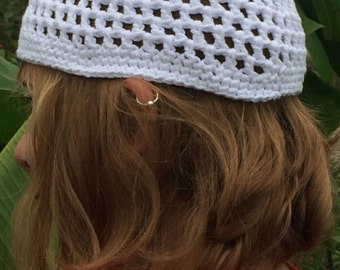 White Cotton Crochet Hat