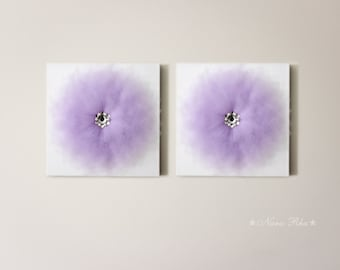 Set of Two Art Canvas Flower Wall Art Nursery Decor Wall Hanging 3D Flower Art  12X12 Canvas White and Lavender