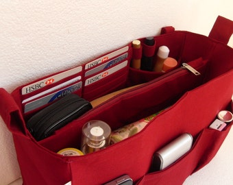 Large Bag organizer - Purse organizer insert in Merlot  fabric