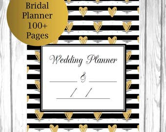 Black White Gold Wedding Planner PDF, Printable Bridal Planner, Wedding Budget Planner, Printable Wedding Timeline Checklist
