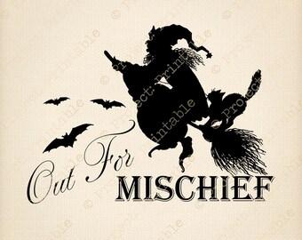 HALLOWEEN Instant Digital Download Printable Graphics Witch Mischief Broom Web Halloween Party Clipart Clip Art