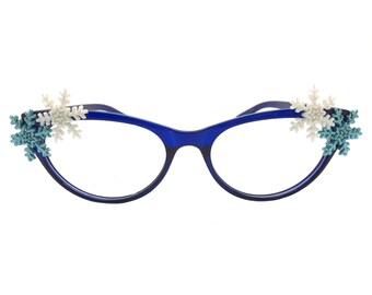 Women's Blue 1.0 Strength Cat Eye Reading Glasses for Winter with Hand-Applied White and Blue Snowflakes