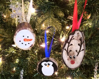 Hand painted Wood slices. PENGUINS, REINDEER, and SNOWMEN. Christmas Tree Ornaments.