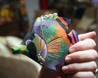 Three Hand-Carved Wooden Tropical Fish Ornaments