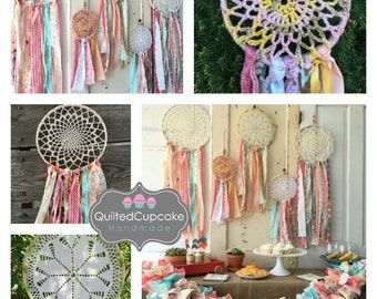 "Dream Catcher, Coral and Aqua dreamcatcher for Boho Baby Shower. 12"" handmade Party Decoration, CUSTOM colors also Available"