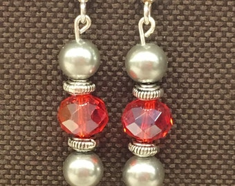 Red, grey & silver dangles