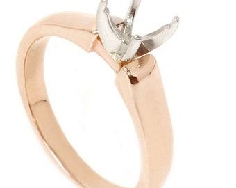 Rose Gold Semi Mount Engagement Ring Mounting Setting 14K, Rose Gold Semi Mount, Engagement Ring Setting