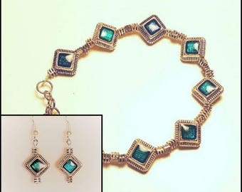 Aztec Aquamarine and Silver Bracelet and Earrings