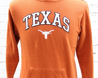 90's Vintage University of Texas Longhorns Burnt Orange Hoodie Big 12 Conference Austin Texas Hook Em Horns Size Small