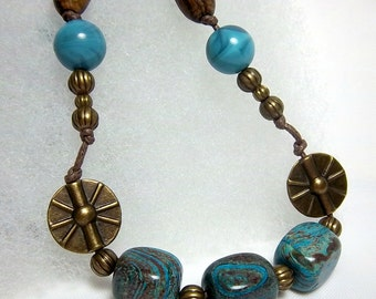 Sky Blue Jasper Necklace, Boho, Antique Bronze, Wood, Resin, Knotted Cord, Man or Woman