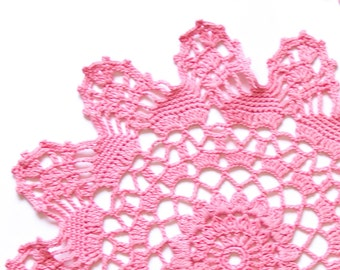 Light Pink coral hand dyed Crochet Vintage Doily blush