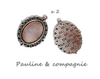 2 support oval pendants silver cabochons