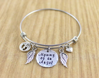 Early Pregnancy Silver Miscarriage Jewelry • Miscarriage Bracelet • Miscarriage Bangle Bracelet • Miscarriage Gift • Mommy of An Angel