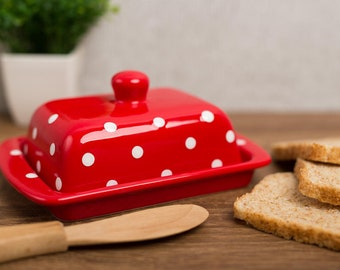 Red Covered Butter Dish with Lid, Ceramic Butter Keeper, European Style White Polka Dot, Stoneware Handmade Pottery, Housewarming Gift