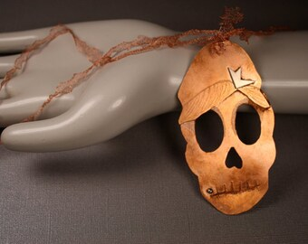 Copper Skull Necklace Calavera Day of The Dead Remembering Amy Winehouse Jewelry Mesh Sterling Silver Persimmon Jewelry
