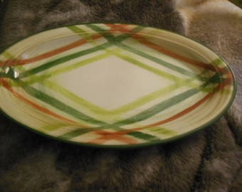 Vintage Oval Green Orange Patterened Platter 40s 50s era