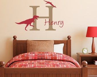 Dinosaur Wall Decal with Initial & Name - Dinosaur Wall Sticker - Personalized Boy Decal - Medium