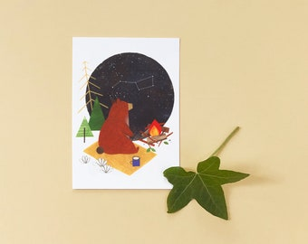 Bear with a Campfire Illustrated Postcard