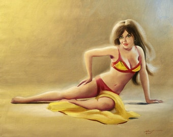 PINUP sexy girl 20x24 painting by RUSTY RUST
