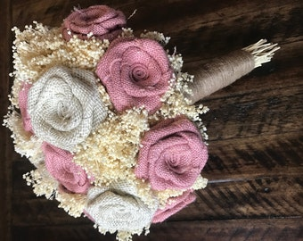 Burlap Bridal Bouquet in Blush and Ivory : Burlap Bouquets, Burlap Wedding Bouquets, Rustic Bouquets, Shabby Chic Bouquets, Burlap Bouquets