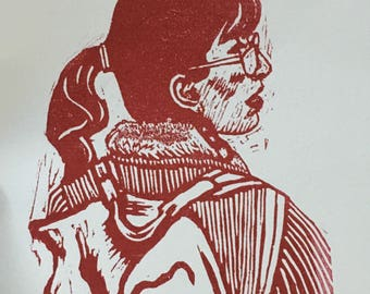 Nicole - original linocut on 8x10 paper, handmade, limited edition relief print