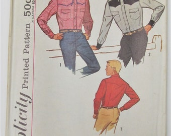 Mens Shirt Western Style Cowboy Rodeo Front And Back Yokes Neck 15 Vintage Menswear Sewing Pattern Simplicity 4703