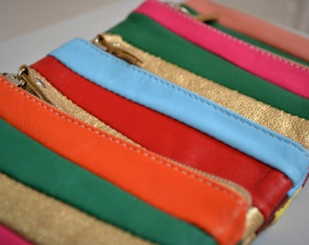 French leather small clutch bands of colors