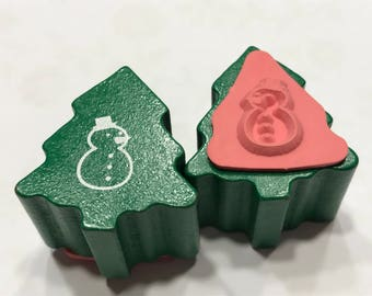 small tiny Snowman stamp,12 mm (BB1/3)