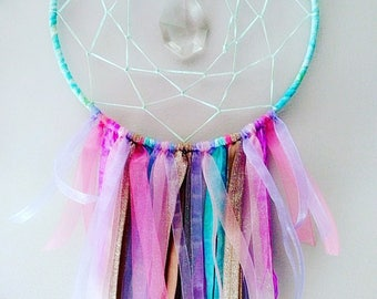 Mermaid Dream Catcher with multifaceted Crystal