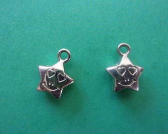 "Charm/charms ""smiling"" star shaped, silver - 1.2 cm"