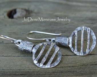 SALE! Sterling silver earrings, rustic, reticulated, fused, one of a kind metalsmith jewelry