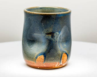 Seaside Blue Green Thumbprint cup