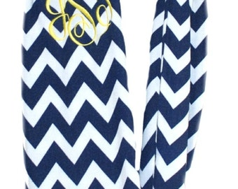 Womens Chevron Infinity Scarves | Monogrammed Scarfs | Personalized Infinity Scarfs | Continuous Loop Scarf | Navy Chevron Infinity