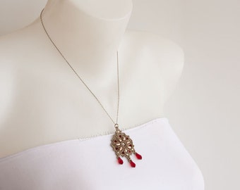 Antique Silver Chain Necklace Dark Red Beaded Pendant with Swarovski Crystal Drops Pearls and Rose Montees, Delicate Chandelier Pendant S120