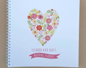Personalised Heart Design Wedding Planner Notebook