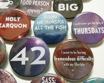 "Hitchhiker's Guide to the Galaxy buttons 1.25"" / 32mm pin back button/badge Don't Panic, 42 and more"