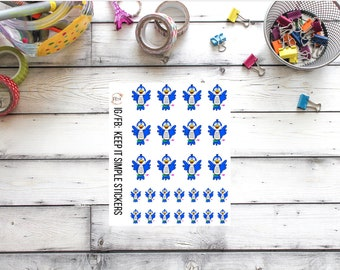 REFORMAT KeepItSimpleStickers Hand Drawn Blue Bird Planner Stickers