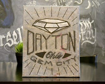 Dayton Gem City 16x20 Canvas Original Artwork