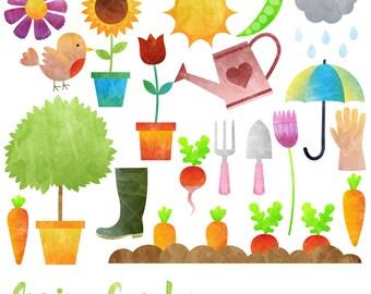 Spring Garden Clipart / Gardening Clip Art / Watercolor Clipart