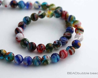 Millefiori 8mm Round Multi Colored Flower Beads 36cm Strand (approx 48 beads) Jewelry Making MIL025