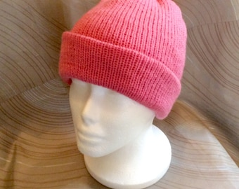 Child teen knit hat, pink knit hat, pink acrylic yarn, pink child's hat, pink teens hat, stocking hat, winter hat, knit hat, Christmas gift