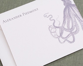 Vintage Octopus Flat Notes, Personalised, Set of 15