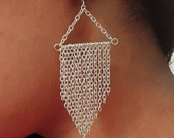 Multi chain drop earrings, silver chain earrings, chainmail look earrings, gift for her, women's jewellery, gifts for women, dangle earrings