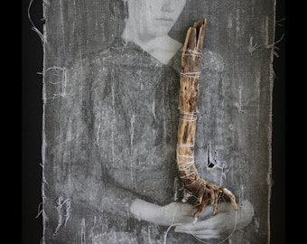 She Doesn't Need Much Framed original Mixed Media Fabric art Textile art Found objects Photo of woman with dried root Nature Girl Surreal
